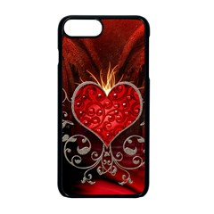 Wonderful Heart With Wings, Decorative Floral Elements Apple Iphone 8 Plus Seamless Case (black) by FantasyWorld7
