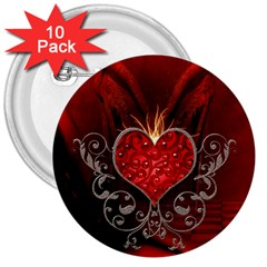 Wonderful Heart With Wings, Decorative Floral Elements 3  Buttons (10 Pack)  by FantasyWorld7