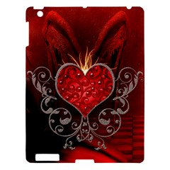 Wonderful Heart With Wings, Decorative Floral Elements Apple Ipad 3/4 Hardshell Case by FantasyWorld7