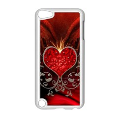 Wonderful Heart With Wings, Decorative Floral Elements Apple Ipod Touch 5 Case (white) by FantasyWorld7