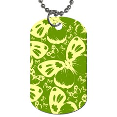 Pale Green Butterflies Pattern Dog Tag (one Side) by allthingseveryday