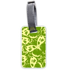 Pale Green Butterflies Pattern Luggage Tags (one Side)