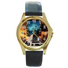 Music, Piano With Birds And Butterflies Round Gold Metal Watch by FantasyWorld7