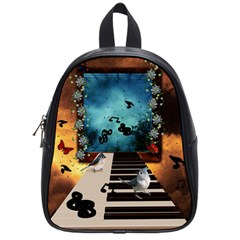 Music, Piano With Birds And Butterflies School Bag (small) by FantasyWorld7