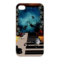 Music, Piano With Birds And Butterflies Apple Iphone 4/4s Hardshell Case by FantasyWorld7