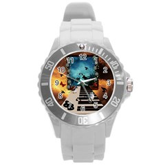 Music, Piano With Birds And Butterflies Round Plastic Sport Watch (l) by FantasyWorld7