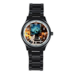 Music, Piano With Birds And Butterflies Stainless Steel Round Watch
