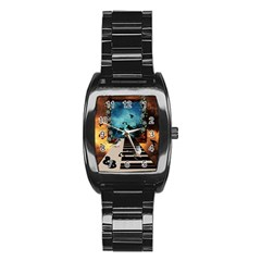 Music, Piano With Birds And Butterflies Stainless Steel Barrel Watch by FantasyWorld7