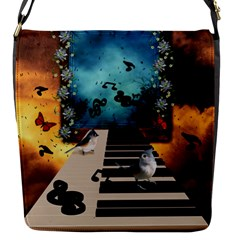 Music, Piano With Birds And Butterflies Flap Messenger Bag (s) by FantasyWorld7