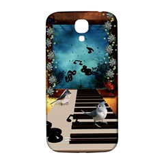 Music, Piano With Birds And Butterflies Samsung Galaxy S4 I9500/i9505  Hardshell Back Case by FantasyWorld7