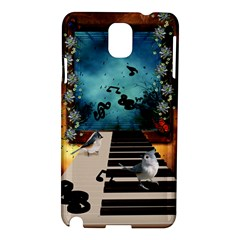 Music, Piano With Birds And Butterflies Samsung Galaxy Note 3 N9005 Hardshell Case by FantasyWorld7