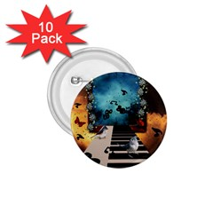 Music, Piano With Birds And Butterflies 1 75  Buttons (10 Pack) by FantasyWorld7