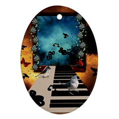 Music, Piano With Birds And Butterflies Oval Ornament (two Sides) by FantasyWorld7