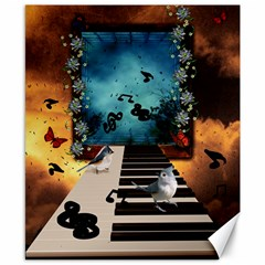 Music, Piano With Birds And Butterflies Canvas 8  X 10  by FantasyWorld7