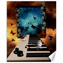 Music, Piano With Birds And Butterflies Canvas 11  X 14   by FantasyWorld7