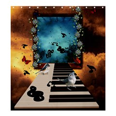 Music, Piano With Birds And Butterflies Shower Curtain 66  X 72  (large)  by FantasyWorld7