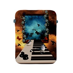 Music, Piano With Birds And Butterflies Apple Ipad 2/3/4 Protective Soft Cases by FantasyWorld7