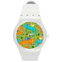 Colorful Dragons Pattern Round Plastic Sport Watch (m) by allthingseveryday