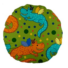 Colorful Dragons Pattern Large 18  Premium Round Cushions by allthingseveryday