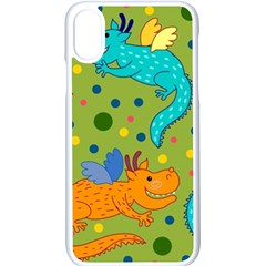 Colorful Dragons Pattern Apple Iphone X Seamless Case (white)