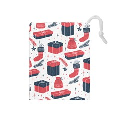 Christmas Gift Sketch Drawstring Pouches (medium)  by patternstudio