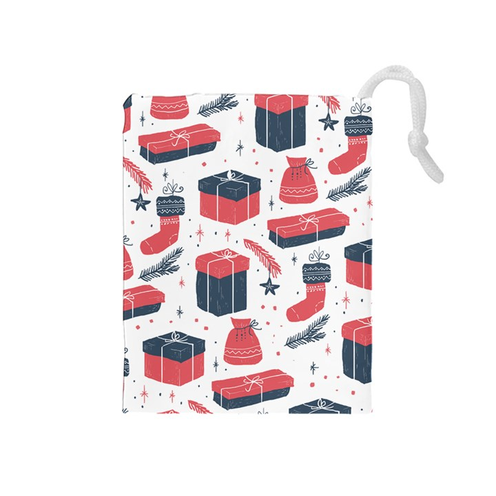 Christmas Gift Sketch Drawstring Pouches (Medium)