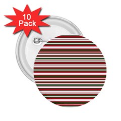 Christmas Stripes Pattern 2 25  Buttons (10 Pack)  by patternstudio