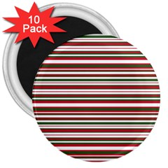 Christmas Stripes Pattern 3  Magnets (10 Pack)  by patternstudio
