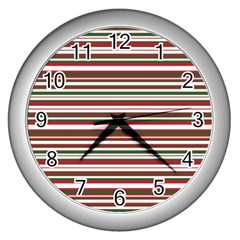 Christmas Stripes Pattern Wall Clocks (silver)  by patternstudio