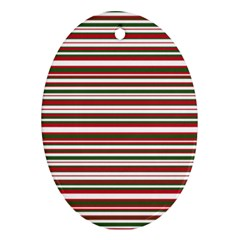 Christmas Stripes Pattern Oval Ornament (two Sides) by patternstudio