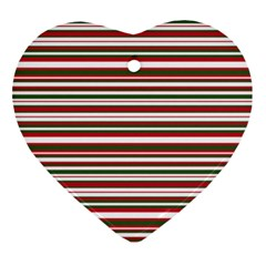 Christmas Stripes Pattern Heart Ornament (two Sides) by patternstudio