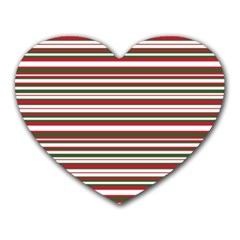 Christmas Stripes Pattern Heart Mousepads by patternstudio
