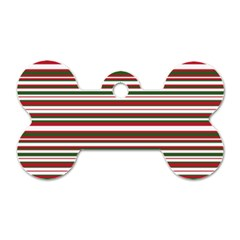 Christmas Stripes Pattern Dog Tag Bone (two Sides) by patternstudio