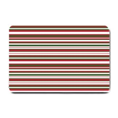 Christmas Stripes Pattern Small Doormat  by patternstudio