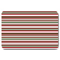 Christmas Stripes Pattern Large Doormat  by patternstudio