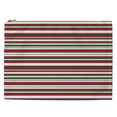 Christmas Stripes Pattern Cosmetic Bag (xxl)  by patternstudio
