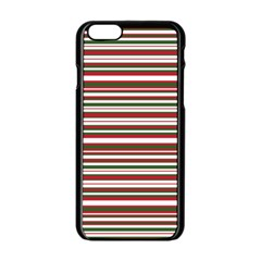 Christmas Stripes Pattern Apple Iphone 6/6s Black Enamel Case by patternstudio