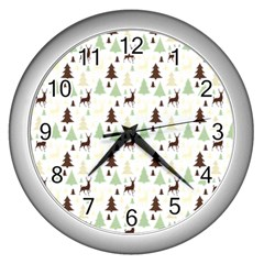 Reindeer Tree Forest Wall Clocks (silver)  by patternstudio