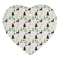 Reindeer Tree Forest Heart Ornament (two Sides) by patternstudio
