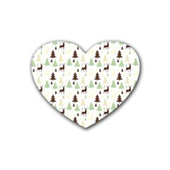Reindeer Tree Forest Heart Coaster (4 Pack)