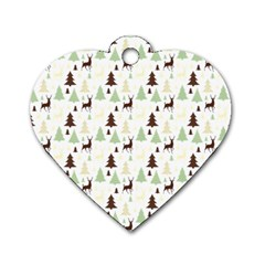 Reindeer Tree Forest Dog Tag Heart (one Side) by patternstudio