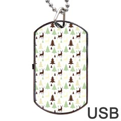 Reindeer Tree Forest Dog Tag Usb Flash (one Side) by patternstudio