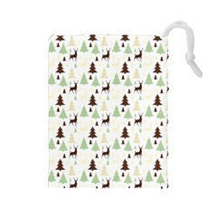 Reindeer Tree Forest Drawstring Pouches (large)  by patternstudio