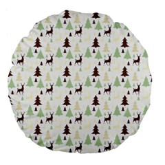 Reindeer Tree Forest Large 18  Premium Flano Round Cushions by patternstudio
