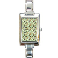 Reindeer Tree Forest Art Rectangle Italian Charm Watch by patternstudio