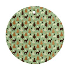 Reindeer Tree Forest Art Ornament (round) by patternstudio