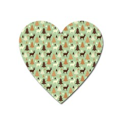 Reindeer Tree Forest Art Heart Magnet by patternstudio