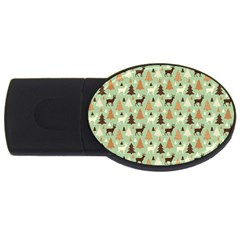 Reindeer Tree Forest Art Usb Flash Drive Oval (2 Gb) by patternstudio