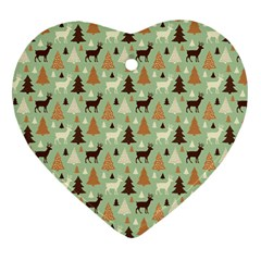 Reindeer Tree Forest Art Heart Ornament (two Sides)