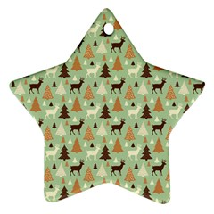 Reindeer Tree Forest Art Star Ornament (two Sides) by patternstudio